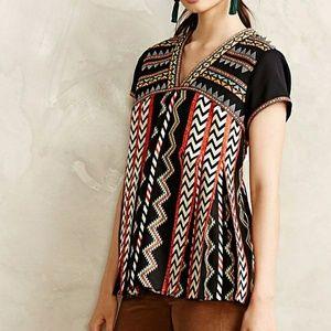 Anthropologie Ranna Gill Chevron Embroidered Top 2